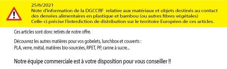 Note DGCCRF sur les articles alimentaires en plastique +bambou et autres matières